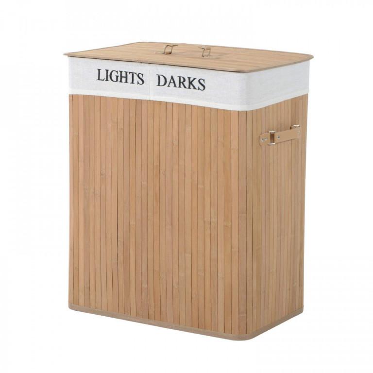 Bambusový koš na prádlo s víkem 100 L   světlý