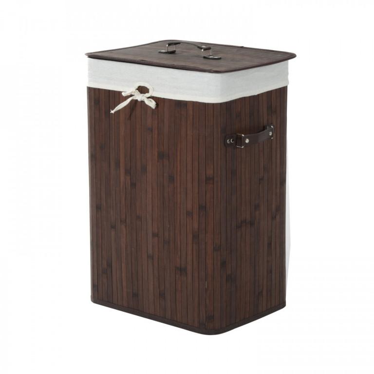 Bambusový koš na prádlo s víkem 72 L   hnědý