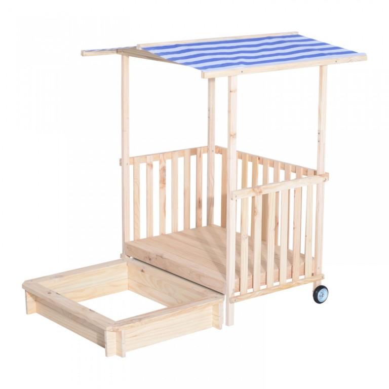 Dětské dřevěné pískoviště se stříškou a krytou verandou modrá/bílá