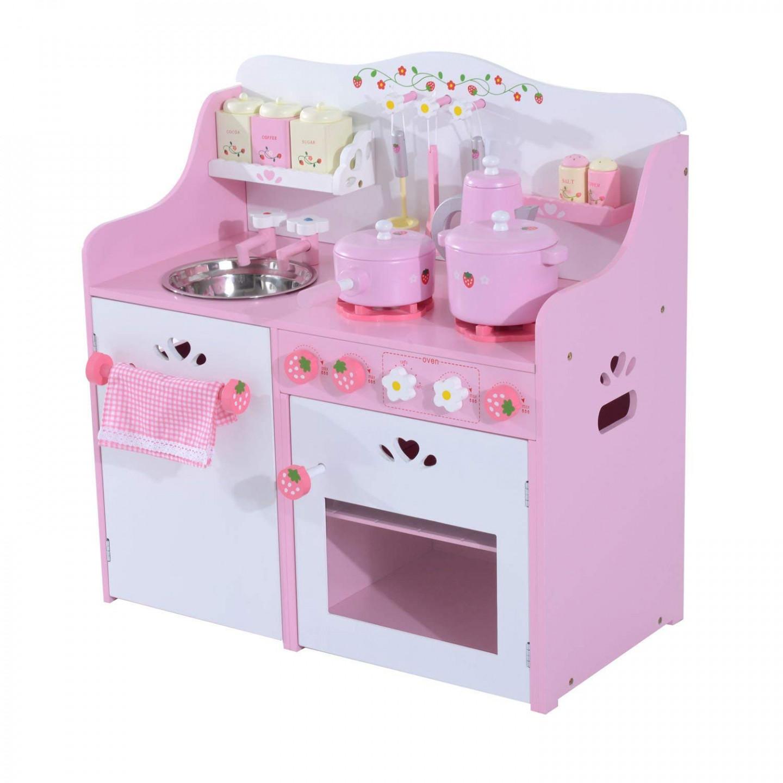Goleto Dětská dřevěná kuchyňka Party s příslušenstvím | růžová