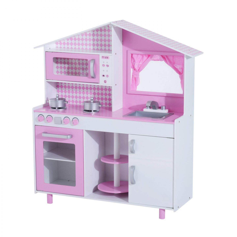 Goleto Dětská dřevěná kuchyňka s okénkem | růžová