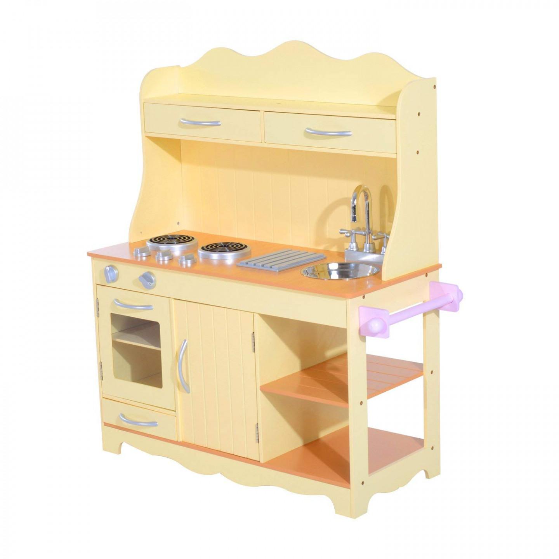 Goleto Dětská dřevěná kuchyňka s příslušenstvím | žlutá