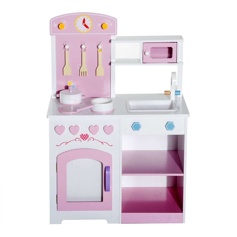 Goleto Dětská dřevěná kuchyňka s příslušenstvím a stoličkou | růžová
