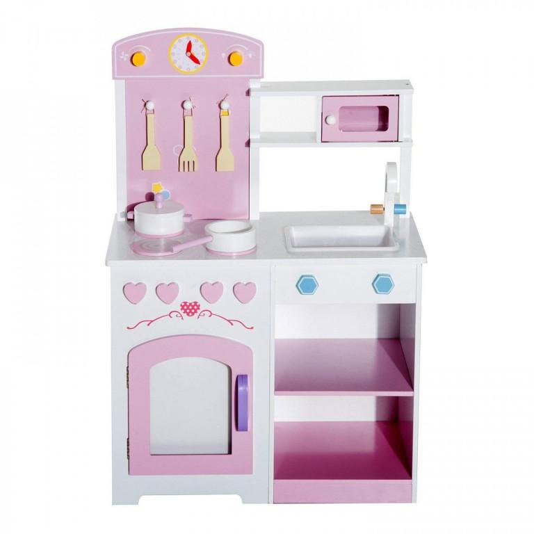 Dětská dřevěná kuchyňka s příslušenstvím a stoličkou | růžová