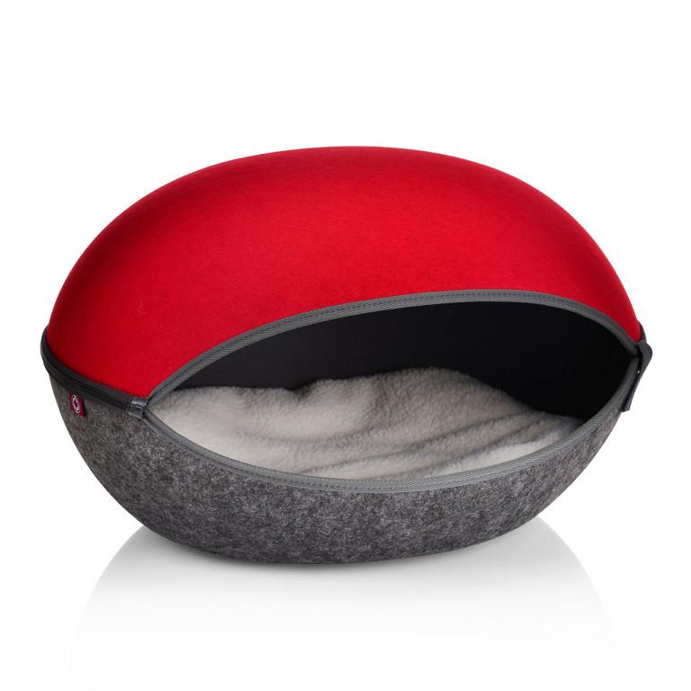 Pelíšek pro kočky | červená/antracit