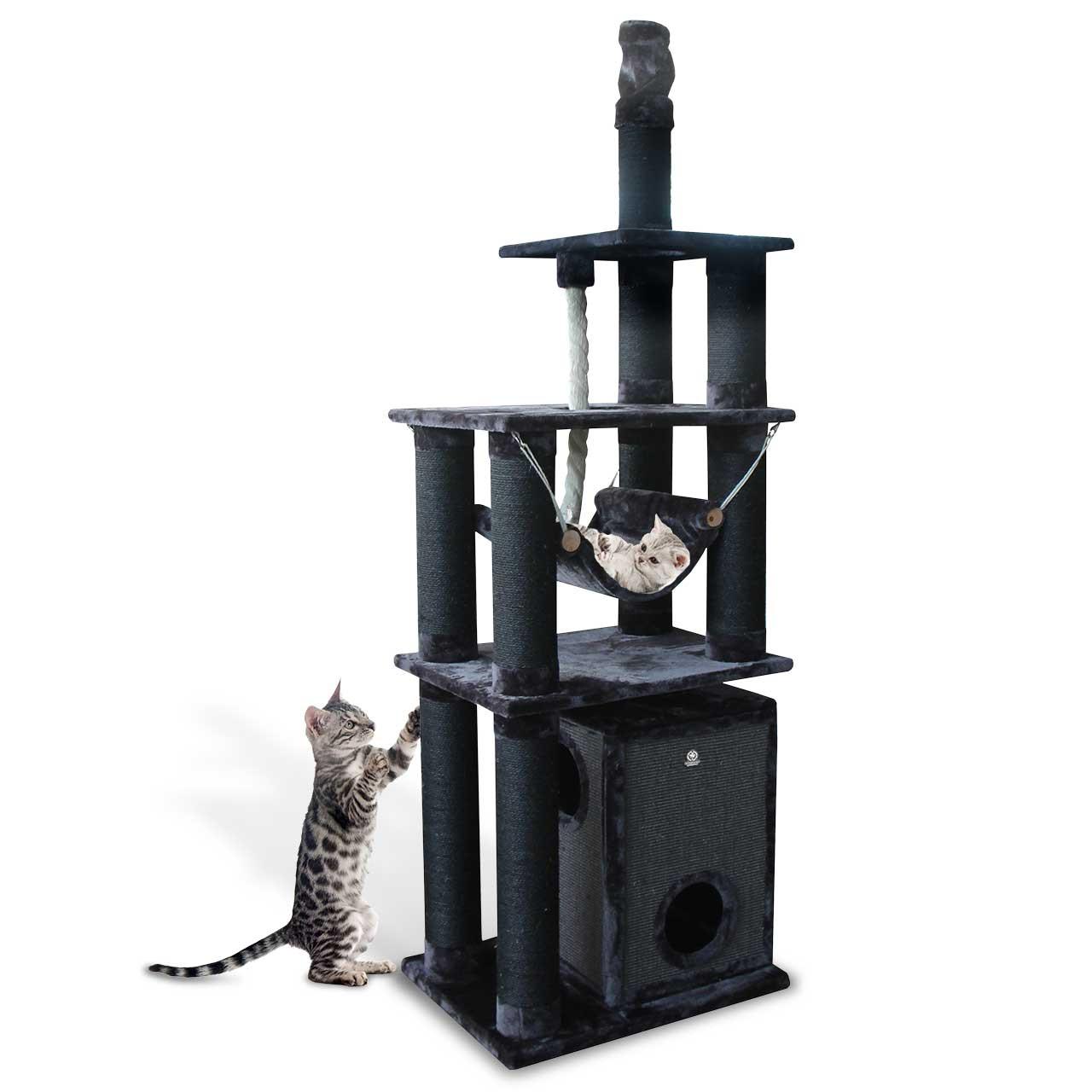 Goleto Luxusní škrabadlo pro kočky Toronto 3 XXL | tmavě šedé
