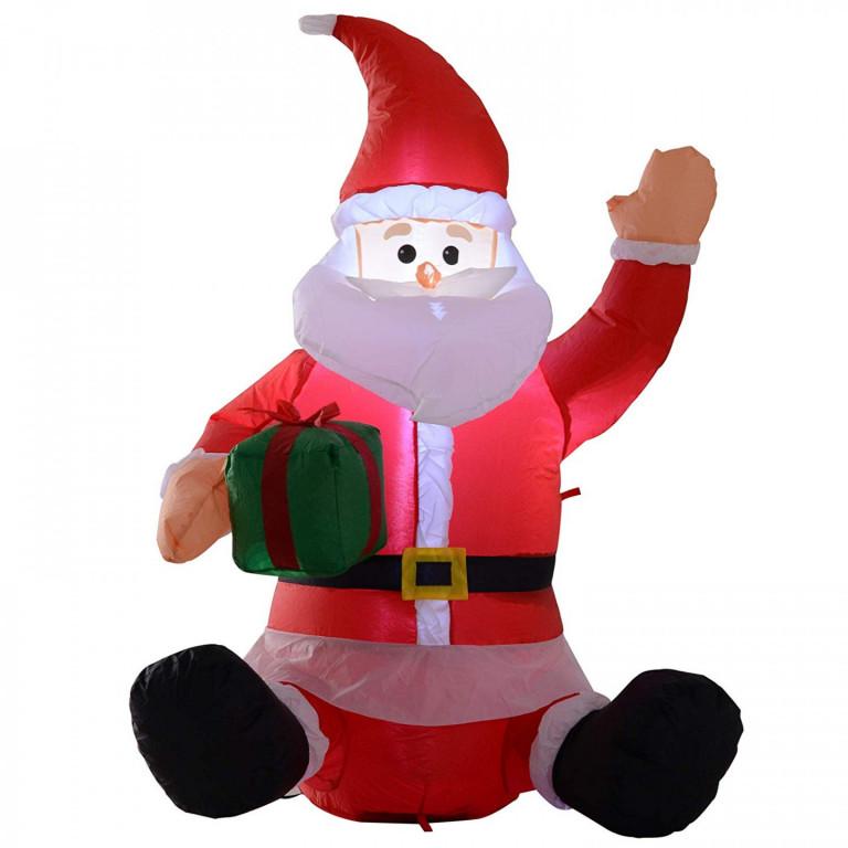 Nafukovací sedící Santa Claus s LED osvětlením 120 cm
