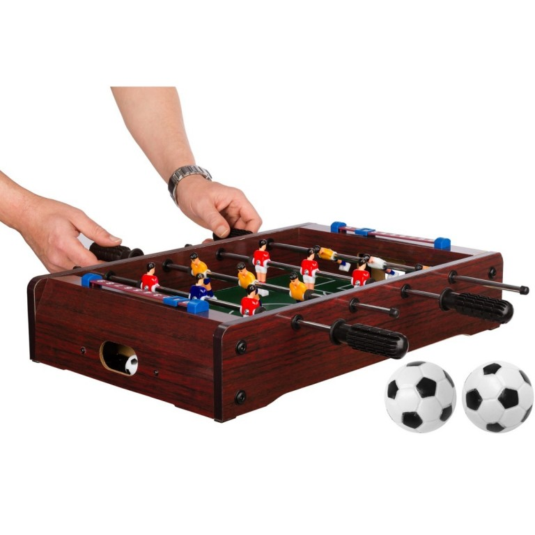Mini stolní fotbal fotbálek 51x31x8 cm, tmavě hnědý