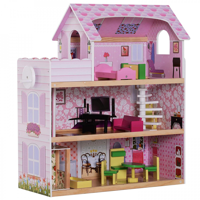 Dřevěný 3 patrový domeček pro panenky s nábytkem GOLETO KIDS