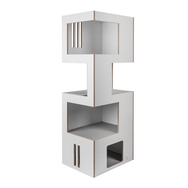 Goleto Prolézací věž pro kočky XL | bílá / šedá