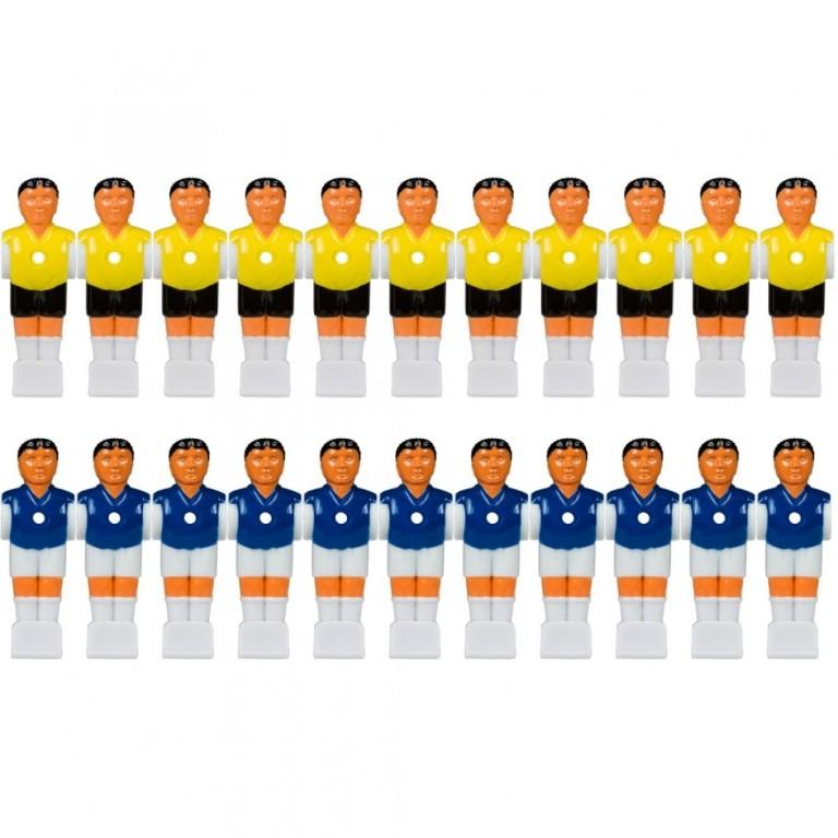 Náhradní hráč pro stolní fotbal fotbálek (na 15,9 mm tyč) 11 žlutý + 11 modrý