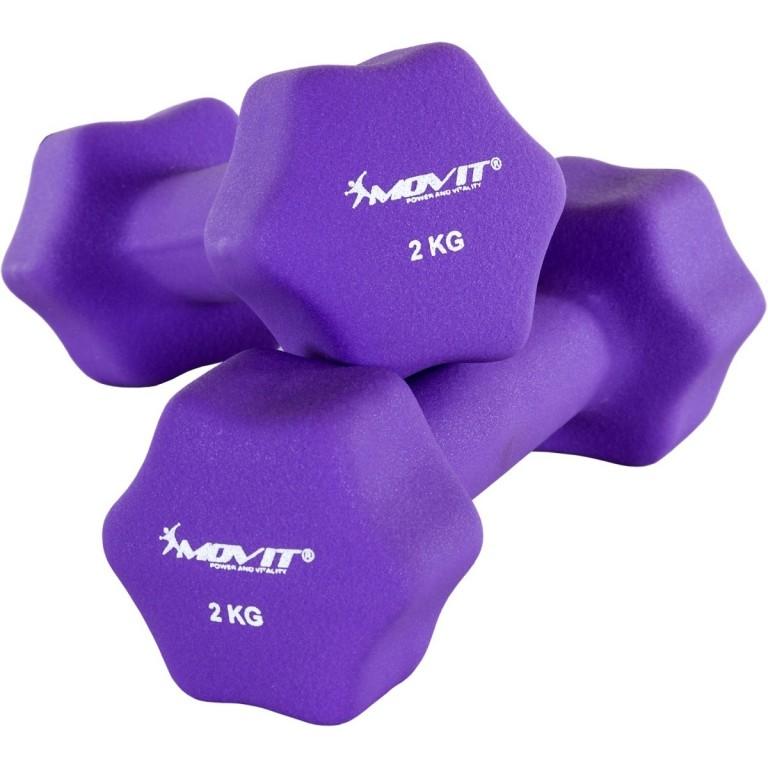 Neoprenové činky MOVIT 2x 2 kg fialové