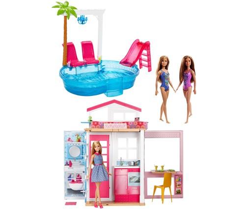 Mattel Mattel Barbie Dům 2v1 s bazénem + 3 panenky