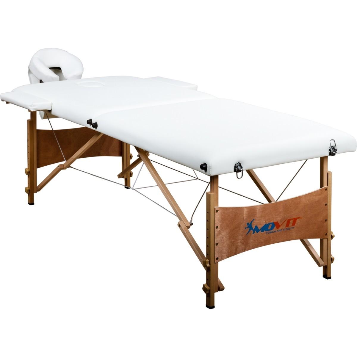 Přenosné masážní lehátko bílé MOVIT 184 x 70 cm OEM