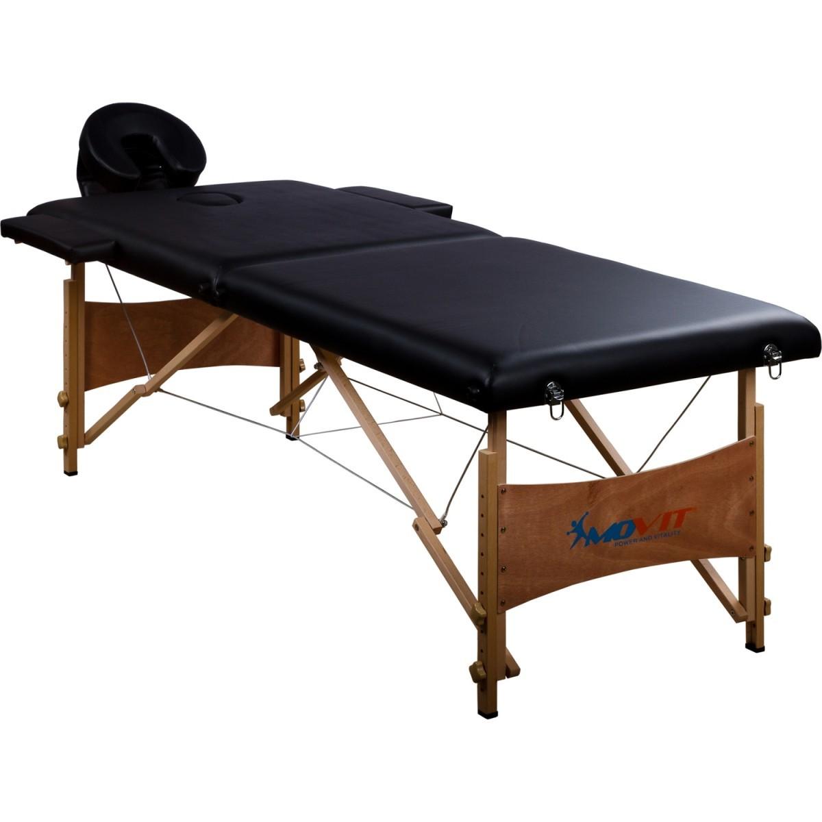 Přenosné masážní lehátko černé MOVIT 184 x 70 cm OEM