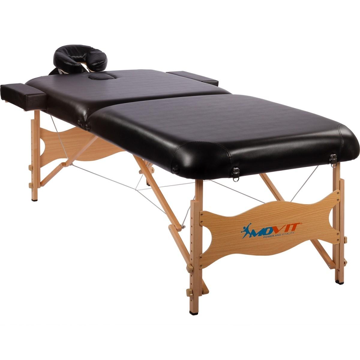 Přenosné masážní lehátko černé Deluxe MOVIT 185 x 80 cm MOVIT