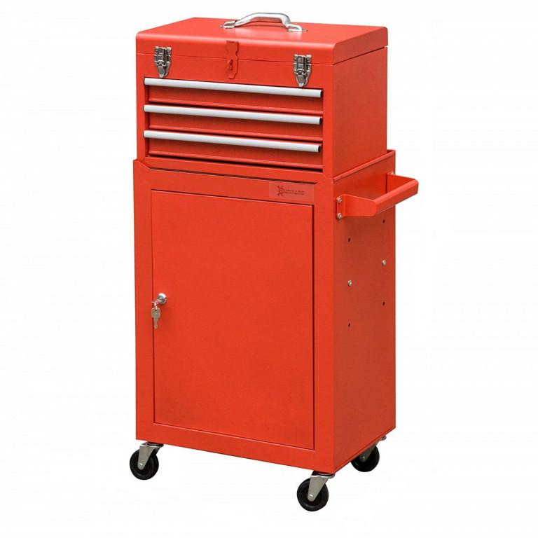 8bb0a5297 Dílenský vozík na nářadí se 3 zásuvkami a skříňkou | červený
