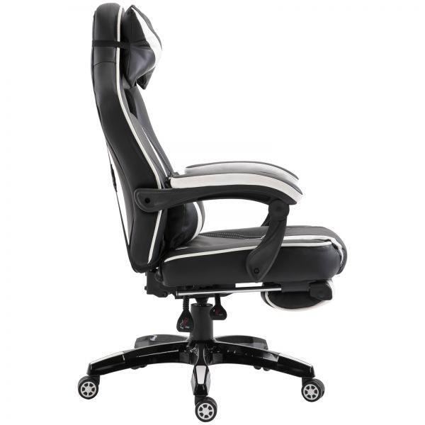 Goleto Luxusní polohovatelná kancelářská / herní židle s podnožkou Prince | černá - bílá
