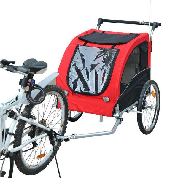 Přívěsný vozík za kolo pro psa 78 x 73 x 94 cm červeno-černý