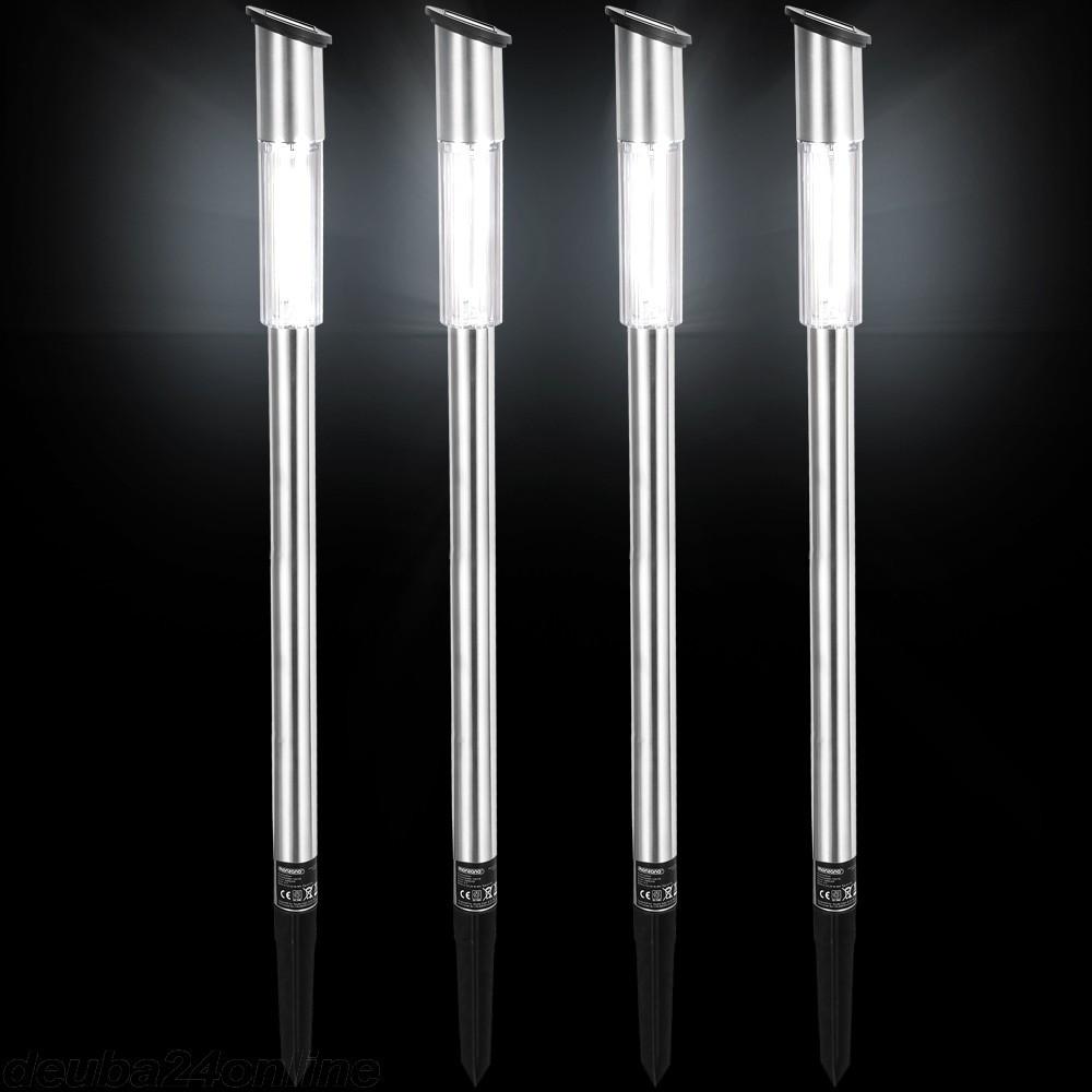 Goleto Solární nerezové LED lampy sloupkové | sada 4 kusů