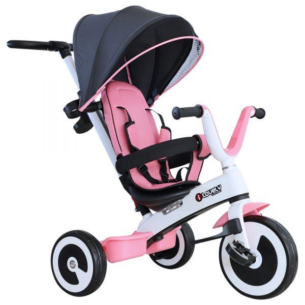 Goleto Dětská tříkolka 4 v 1 Pinkie | růžová