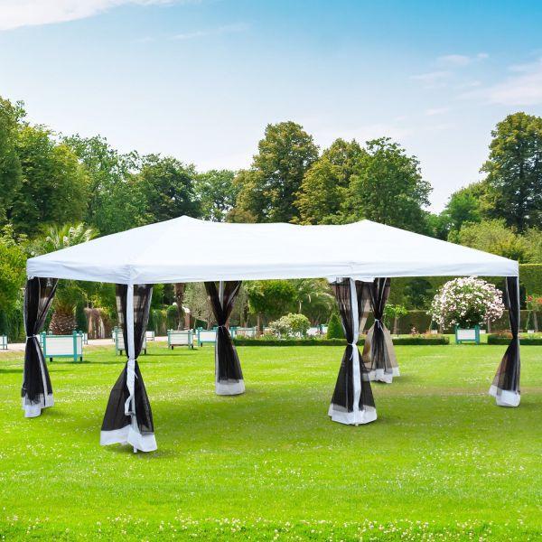 Goleto Luxusní skládací zahradní altán 600 x 300 x 255 cm | bílo-černý