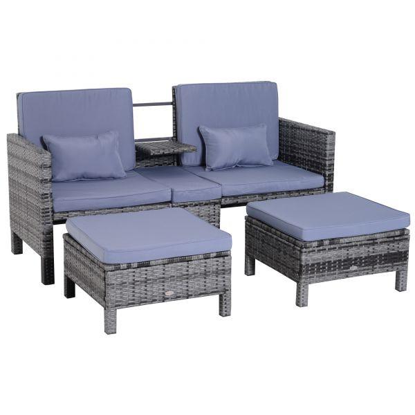 Goleto Zahradní polyratanový set se stolkem a 2 stoličkami Bethan | šedo-modrý