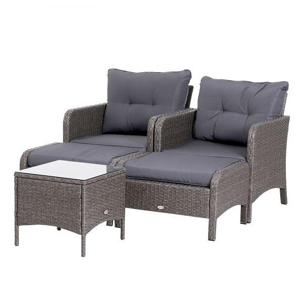 Goleto Zahradní polyratanový set se stolem a 2 stoličkami Brian | tmavě šedý