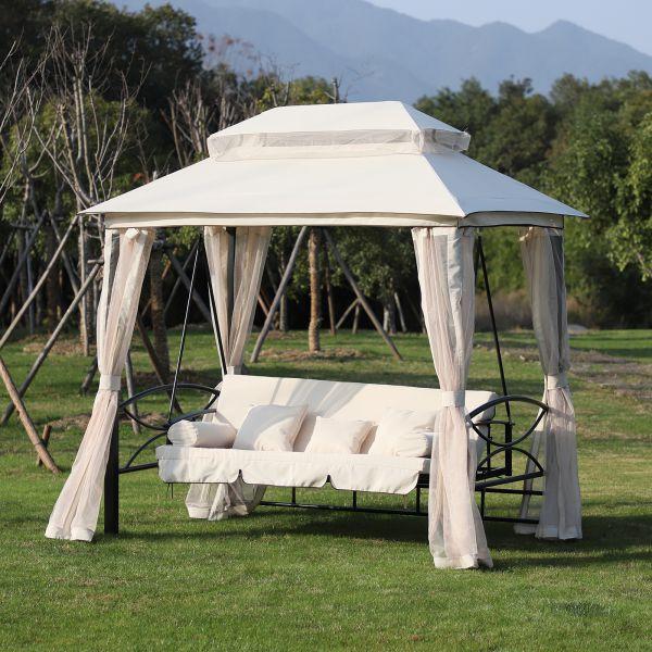 Goleto Luxusní zahradní houpačka s altánem Swing | béžová