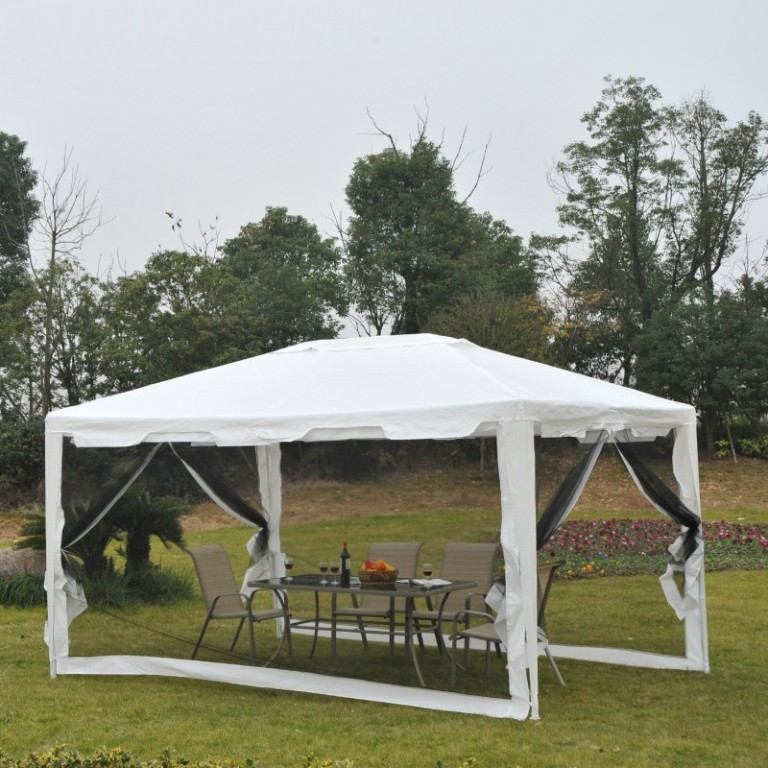 Zahradní párty stan 4 x 3 m s bočnicemi (moskytiéry) | bílý
