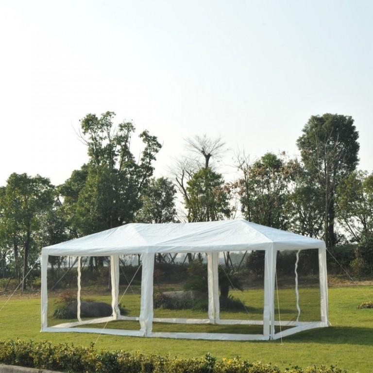 Zahradní párty stan 6x3 m s bočnicemi (moskytiéry) | bílý