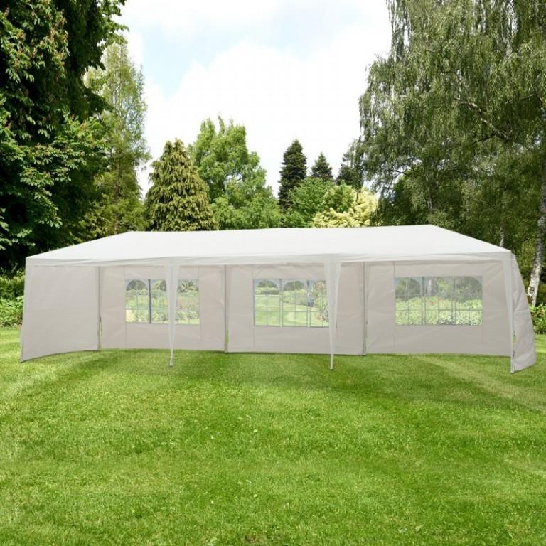 Zahradní párty stan 9x3 m s bočnicemi | bílý