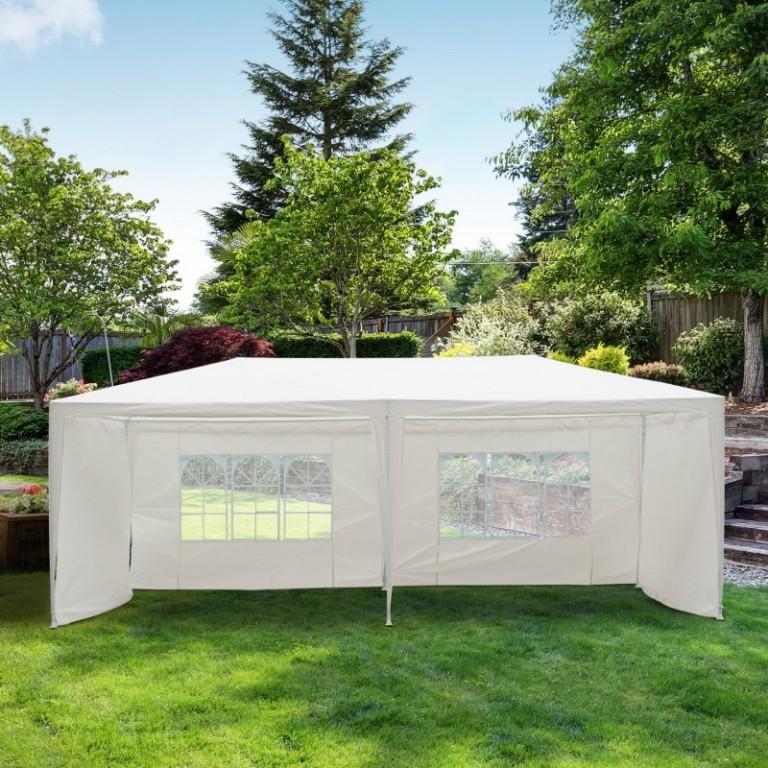 Zahradní párty stan 6x3 m s bočnicemi | bílý
