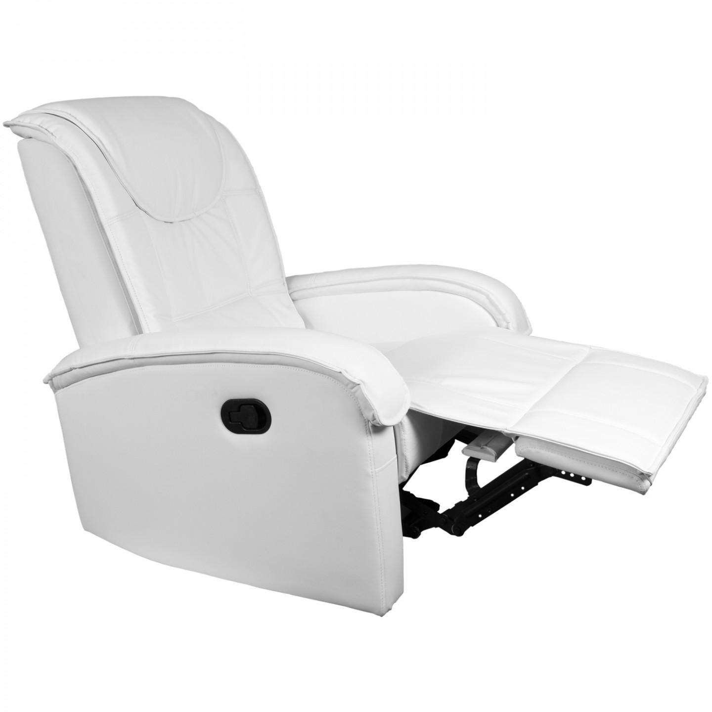 Goleto Relaxační křeslo s výklopnou podnožkou | bílé