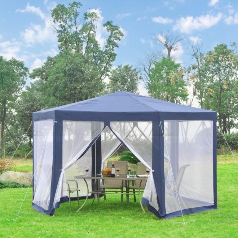 Zahradní párty stan 3,9x3,9 m s bočnicemi (moskytiéry) | modrý