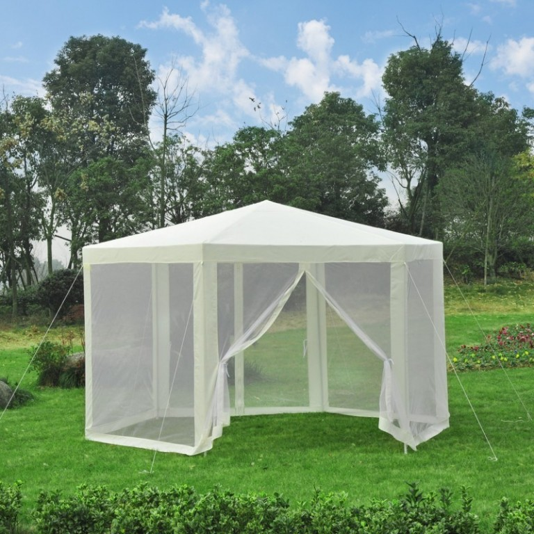 Zahradní párty stan 3,9 x 3,9 m s bočnicemi (moskytiéry) | krémový