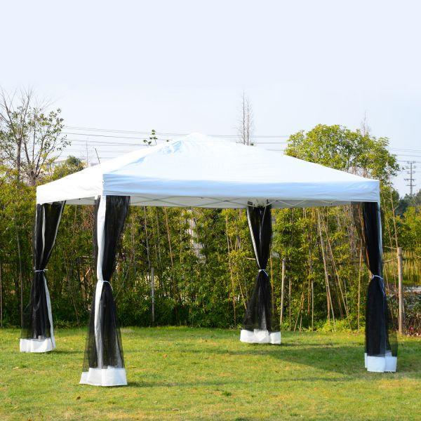 Goleto Luxusní skládací zahradní altán 300 x 300 cm | bílo-černý