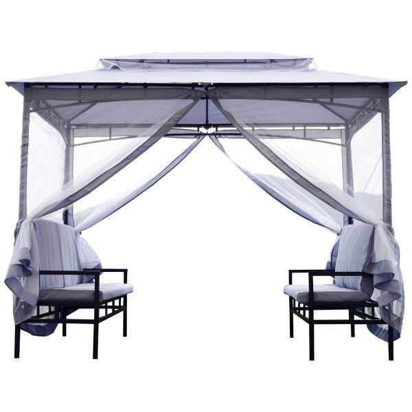 Goleto Zahradní pavilon s integrovanými lavičkami 2 x 2,9 m | šedý
