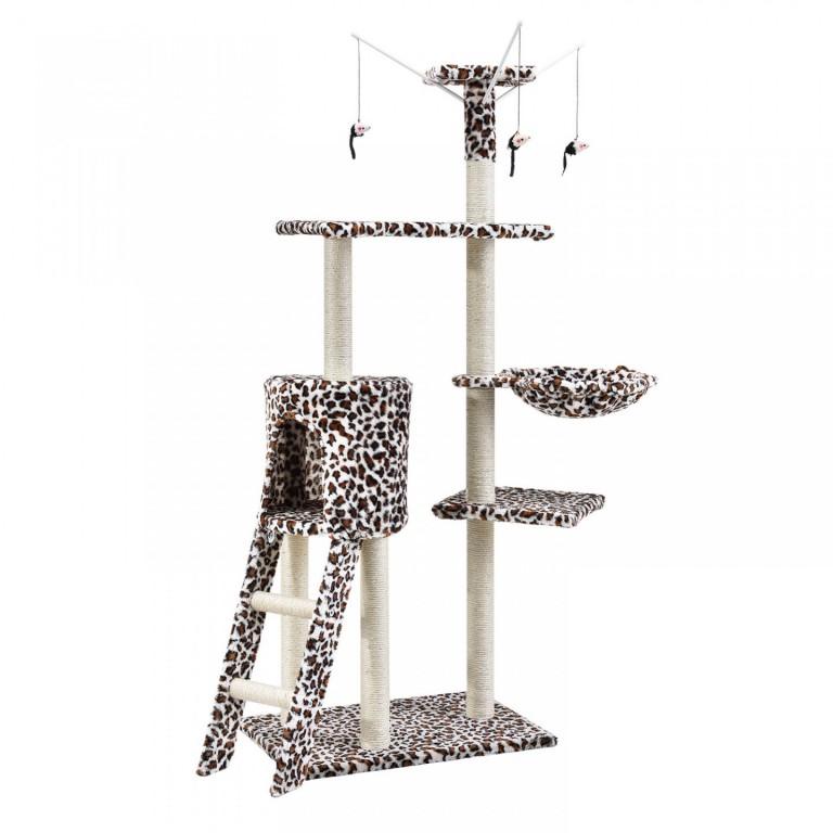 Škrabadlo pro kočky 138x55x35 cm   leopardí vzor