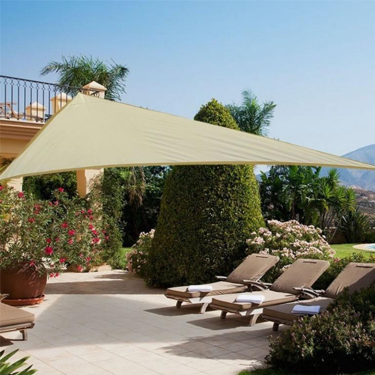 Stínící plachta proti slunci 5 x 5 x 5 m polyester | písková