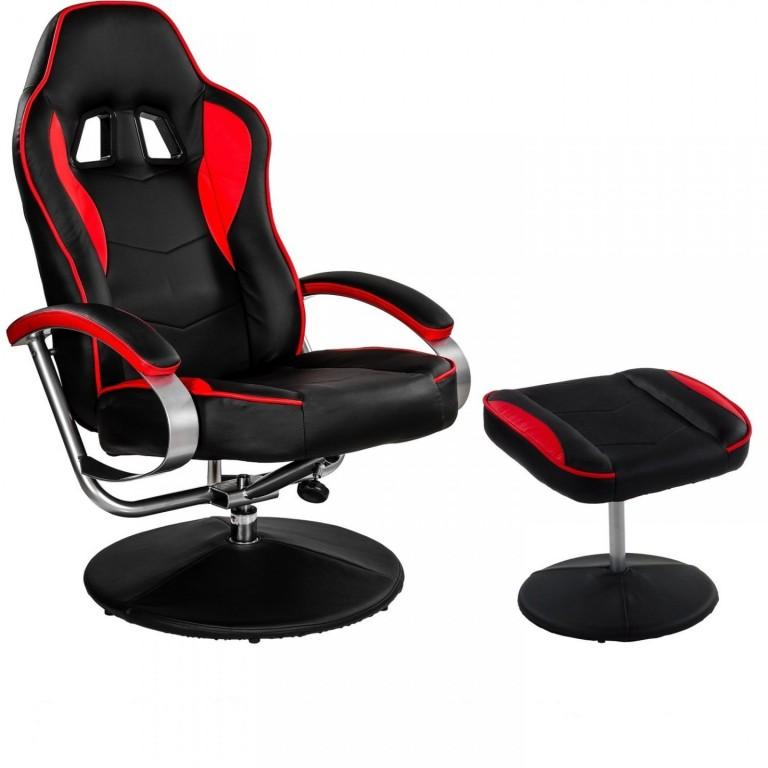 Kancelářská židle GT Relax Racer s podnožkou | černo-červená