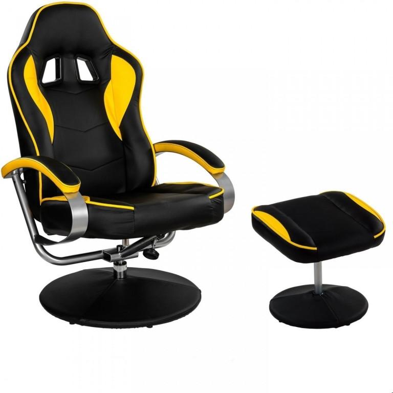 Kancelářská židle GT Relax Racer s podnožkou | černo-žlutá
