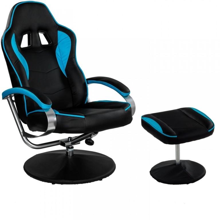 Kancelářská židle GT Relax Racer s podnožkou | černo-modrá