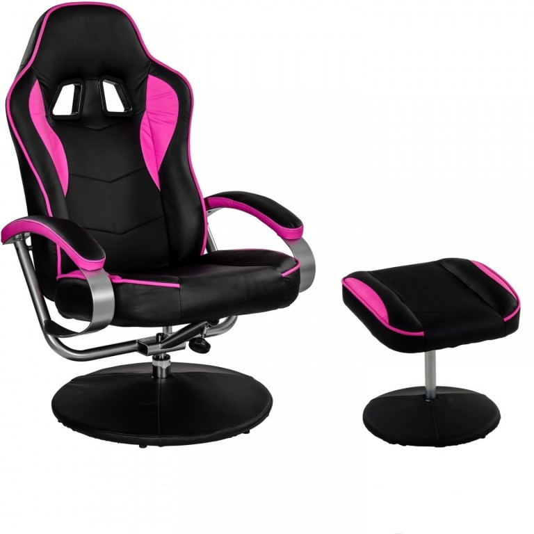 Kancelářská židle GT Relax Racer s podnožkou | černo-růžová