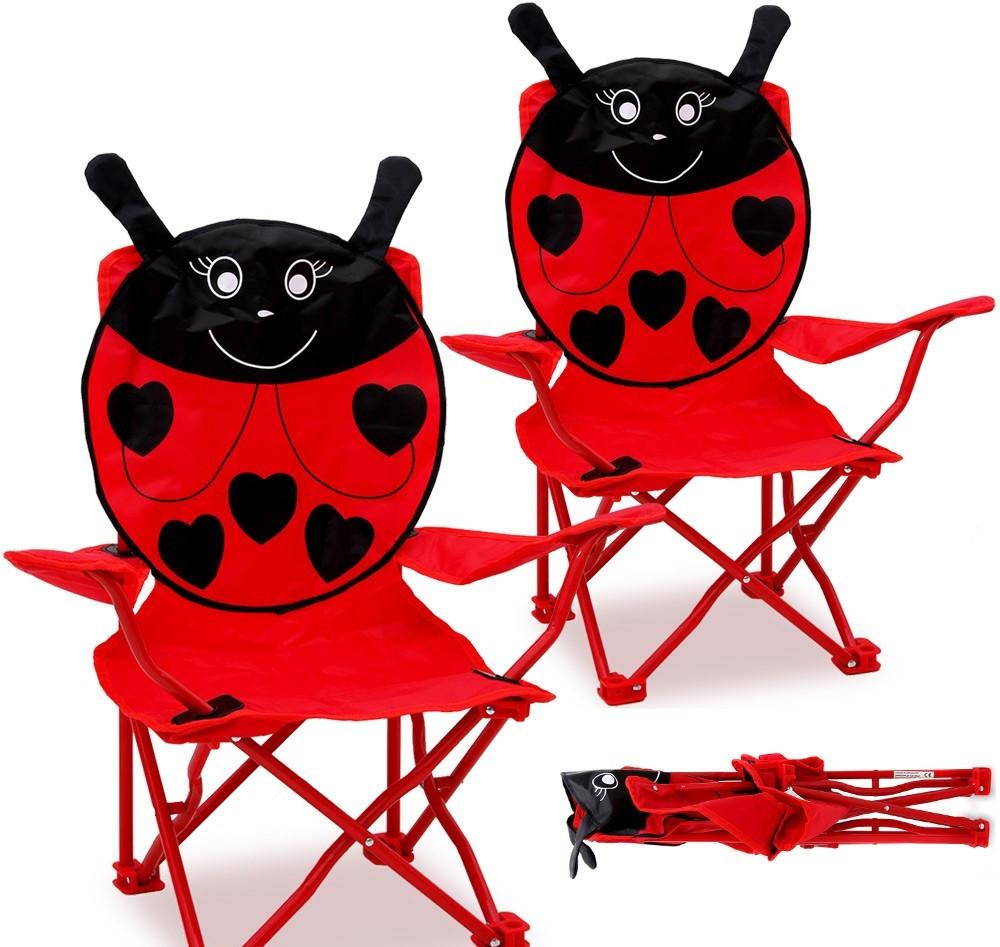 Goleto Campingová dětská židle beruška 2ks | červená