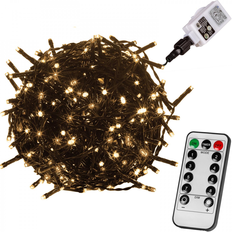 Goleto Vánoční LED osvětlení 60 m - zelený kabel | teplá bílá 600 LED