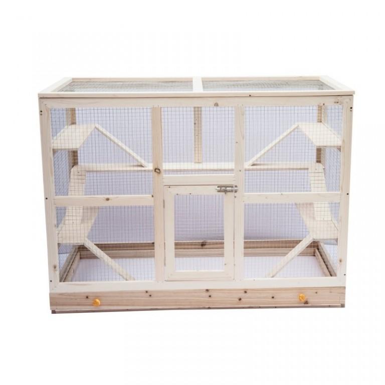 Dřevěná klec pro králíky a hlodavce 115 x 60 x 90 cm