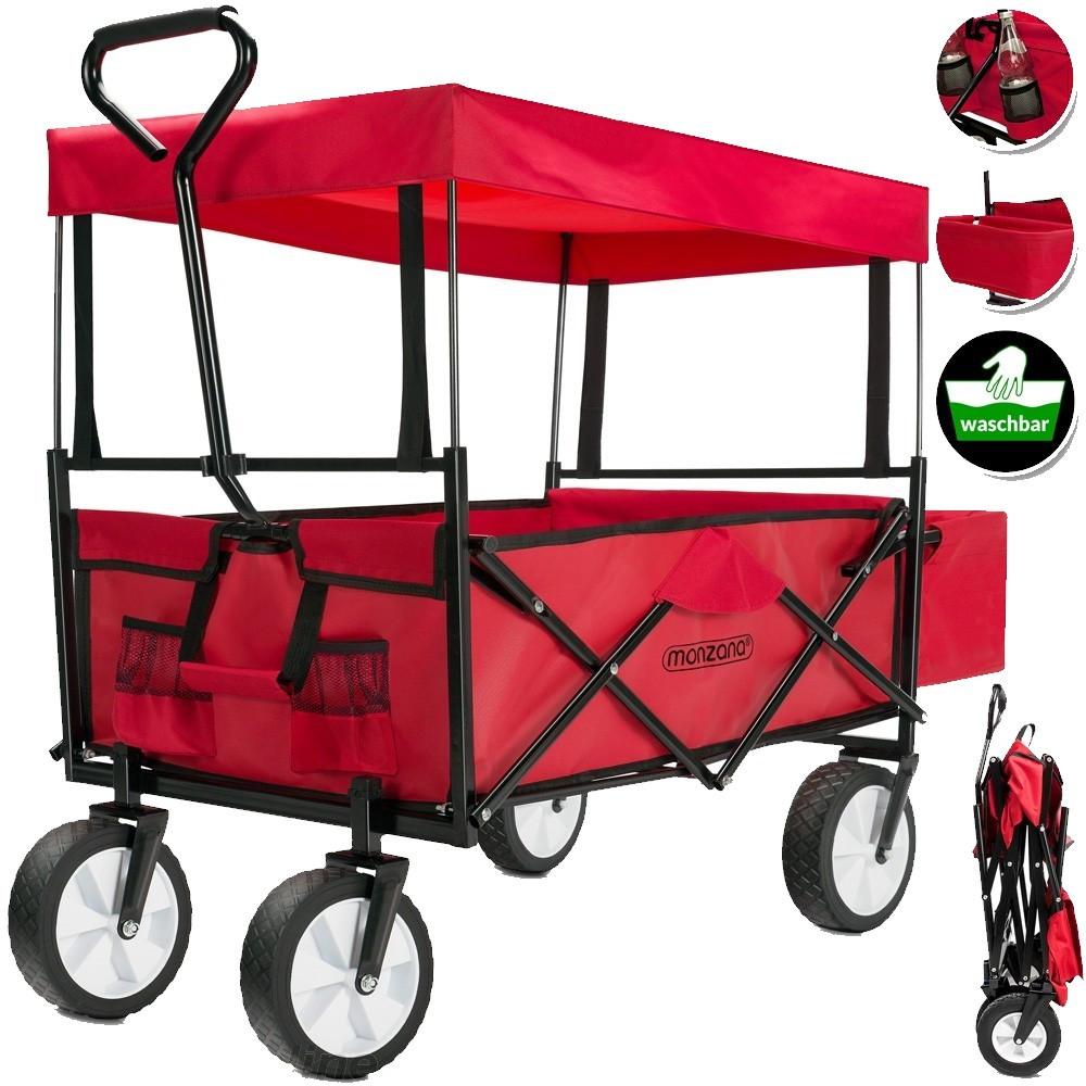 Goleto Přepravní skládací vozík se stříškou | červeno-černý