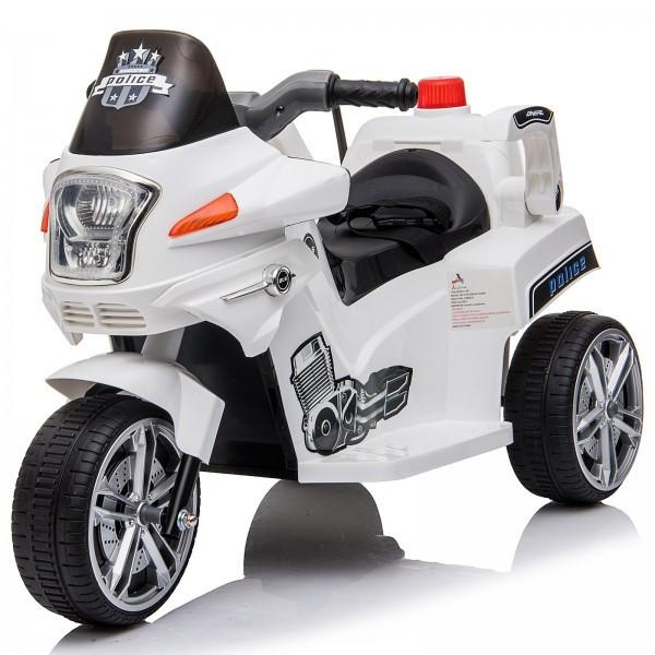 Goleto Dětská elektrická motorka POLICE | bílá