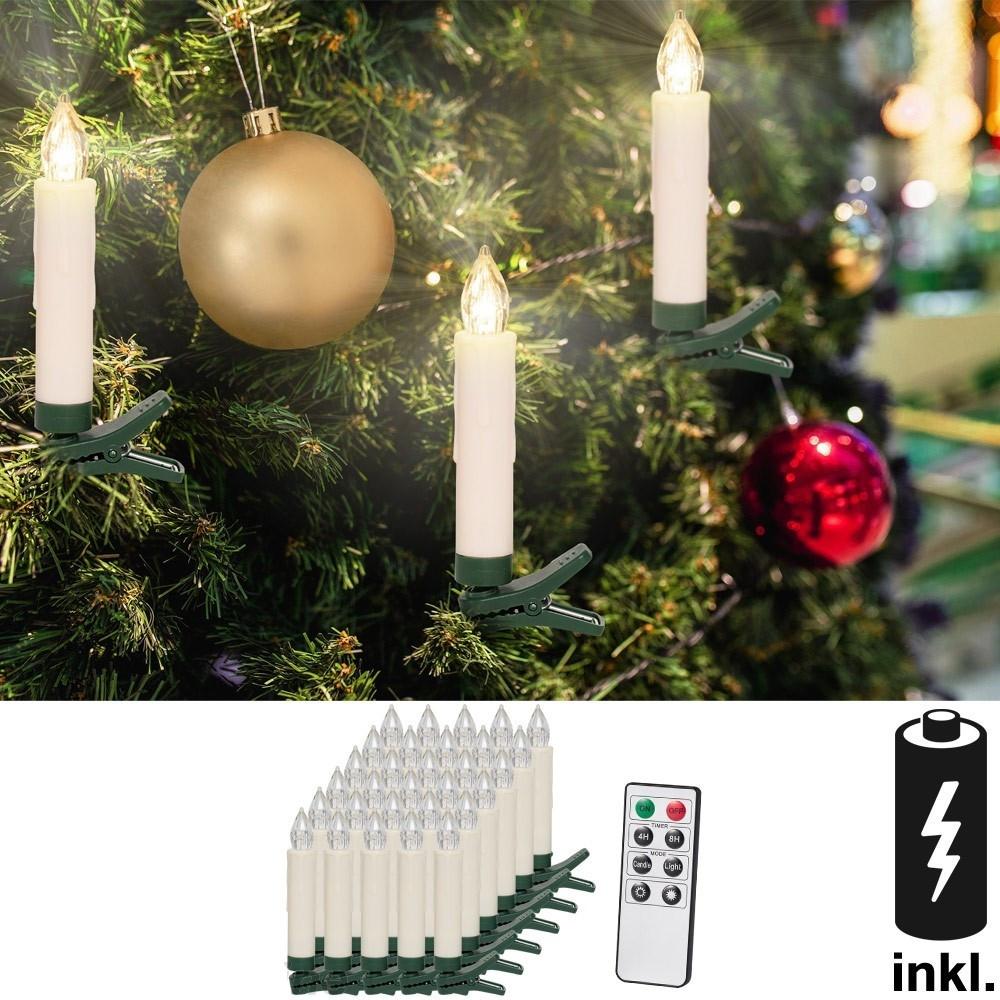 Goleto Vánoční svíčky na stromeček 30 LED včetně baterií | teplá bílá